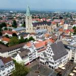 Paderborner Rathaus und Dom aus der Vogelperspektive